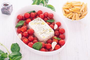 Healthy vegetarian italian feta pasta