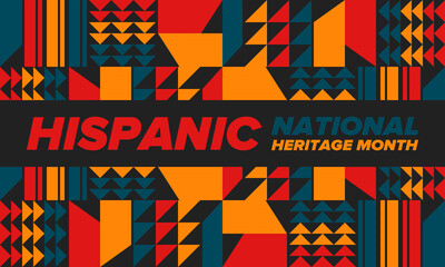 Obraz National Hispanic Heritage Month in September and October. Hispanic and Latino Americans culture. Celebrate annual in United States. Poster, card, banner and background. Vector illustration - fototapety do salonu