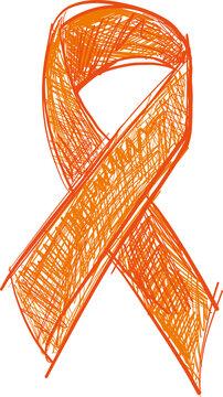 Orange-Cooper ribbon awareness isolated on white background