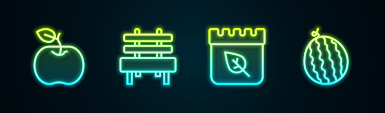 Set line Apple, Bench, Calendar with autumn leaves and Watermelon. Glowing neon icon. Vector