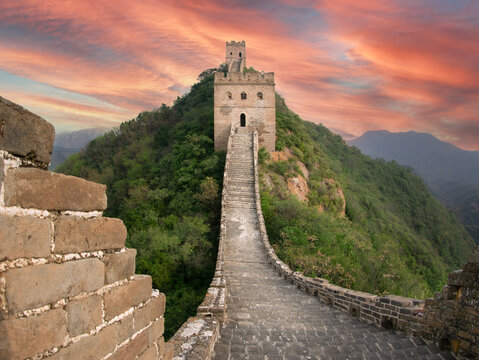 Great Chinese Wall at Sunset