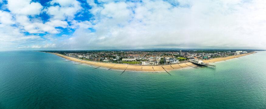 Panoramic aerial done view of Bognor Regis beach, West Sussex, England