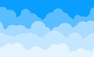 Fototapeta Cloud pattern. Blue sky with clouds. Cartoon cloudscape vector background. obraz
