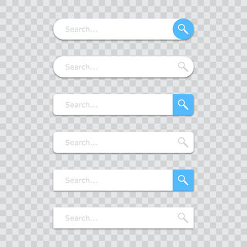 Set of search bar icons on a transparent background