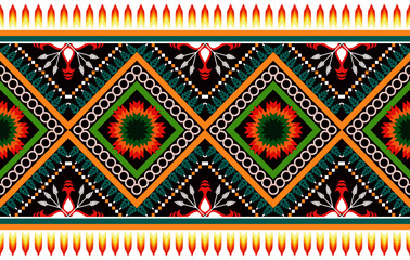 Fototapeta Ikat ethnic seamless pattern design. Aztec fabric carpet mandala ornament boho chevron textile decoration wallpaper. Tribal traditional embroidery patterns vector illustrations background. obraz