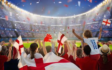 Obraz England football team supporter on stadium. - fototapety do salonu