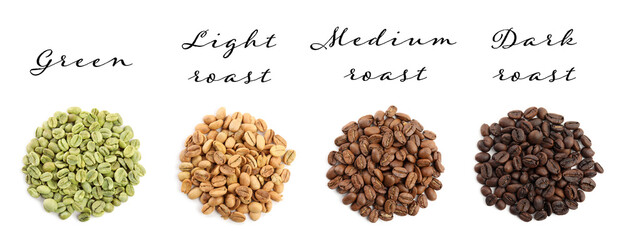 Set with green and roasted coffee beans on white background, top view. Banner design