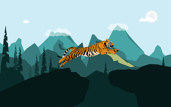 vector graphic illustration, tiger jumping off the rock against mountains background, suitable for, tiger day, posters, pictures, wallpapers and banners