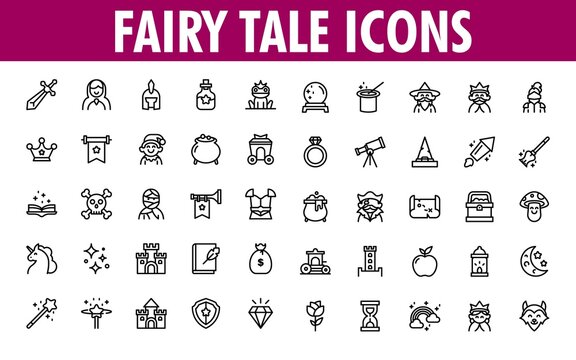 Set Of Fairy Tale Icons.