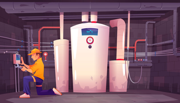 Home basement with boiler and water pipes. Plumber repairs electric heating system. Vector cartoon interior of boiler room in house cellar with heater and technician with wrench