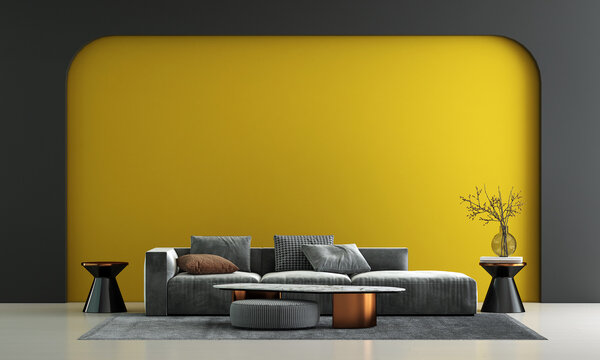 Home and decor and furniture of minimal living room interior design and yellow pattern wall texture background and white wood floor, 3d rendering