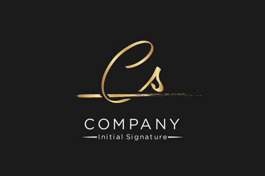 signature Initial combination Letter C S. handwriting logo of initial signature, wedding, fashion, jewerly, boutique, floral and botanical with creative template for any company or business.