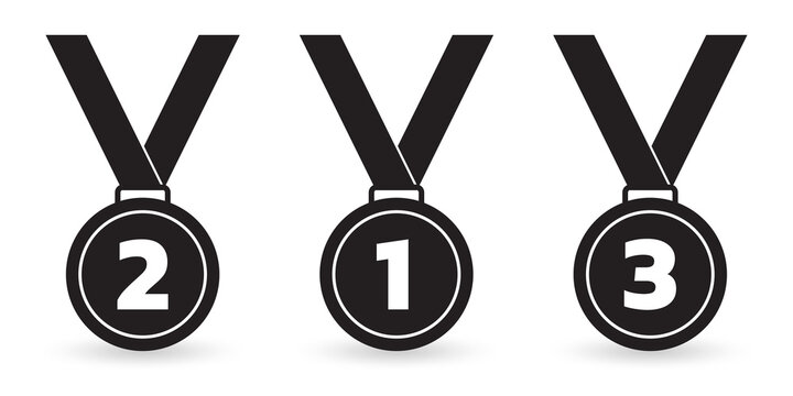 Medal icon set. Gold, silver and bronze medals with ribbon. Sport awards, winner and champion prize concept. Vector illustration.