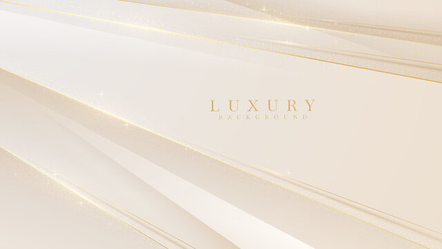 Golden line diagonal sparkle on luxury abstract light brown background. Vector illustration.