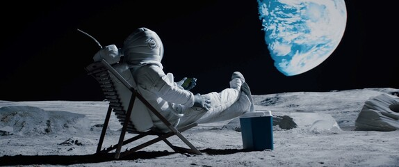 Obraz Back view of lunar astronaut opens a beer bottle while resting in a beach chair on Moon surface, enjoying view of Earth - fototapety do salonu