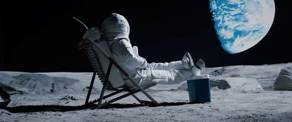 Fototapeta Back view of lunar astronaut opens a beer bottle while resting in a beach chair on Moon surface, enjoying view of Earth obraz