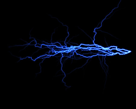 realistic lightning isolated on black background. Natural light effect, bright glowing. Magic purple thunderstorm, for design element