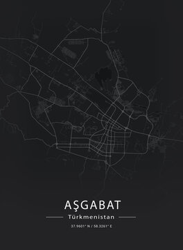 Map of Ashgabat, Turkmenistan