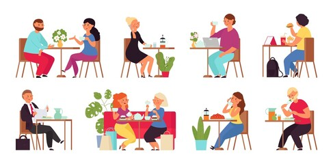 Fototapeta Cartoon people in cafe. Restaurant group, shopping friends drinking. Woman with laptop. Couple drink coffee, work meet on lunch decent vector scenes obraz