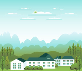 Minimal landscape village, mountains, hills, trees, forest. Rural valley scene. Farm countryside with house, building in flat style design. Blue green pastel gradient colors. Cartoon background vector