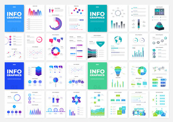 Fototapeta Set of four infographic brochure templates. Vertical A4 pages with charts, diagrams and workflow elements. Vector illustration for presentation or statistical report obraz