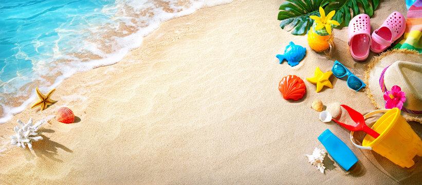 Ocean sand beach with sunbathing accessories
