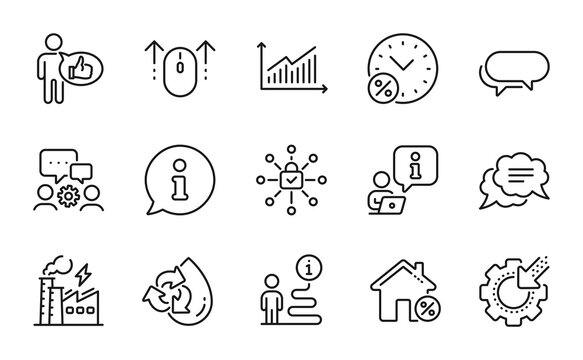 Technology icons set. Included icon as Seo gear, Security lock, Electricity factory signs. Loan percent, Recycle water, Messenger symbols. Loan house, Like, Swipe up. Engineering team. Vector