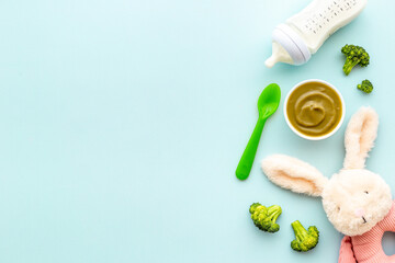 Fresh baby fruit food puree and milk bottle. Top view