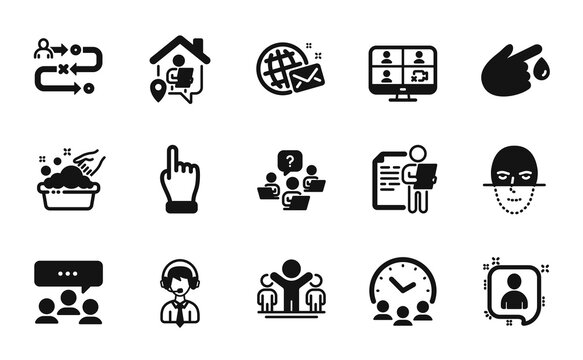 Vector set of Hand washing, Face recognition and Journey path icons simple set. Blood donation, Meeting and Work home icons. Click hand, Video conference and Shipping support signs. Vector