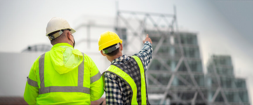 Banner : Civil engineer and civil builders inspect construction site structure and plans. Civil engineer and civil builders inspects the actual construction site. Civil engineer inspect the building.