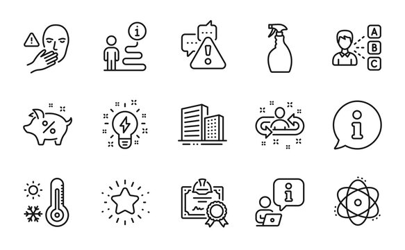 Line icons set. Included icon as Warning, Weather thermometer, Certificate signs. Buildings, Dont touch, Inspiration symbols. Spray, Opinion, Twinkle star. Atom, Recruitment, Loan percent. Vector