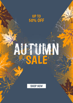 Autumn Big Sale banner on gray background. Orange, yellow, brown and gray leaves. Special offer
