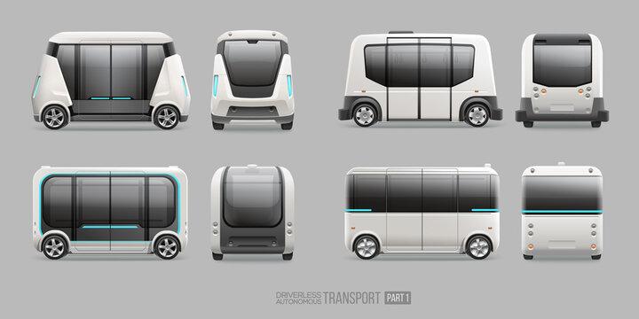 Concept of futuristic autonomous electric shuttle bus side and front view. Driverless Autonomous Self driving mini van vector template. Driverless future transport