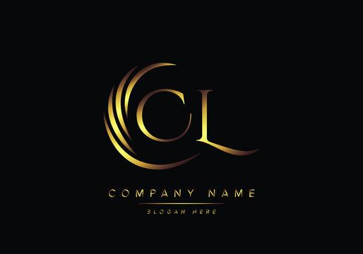 alphabet letters CL monogram logo, gold color elegant classical