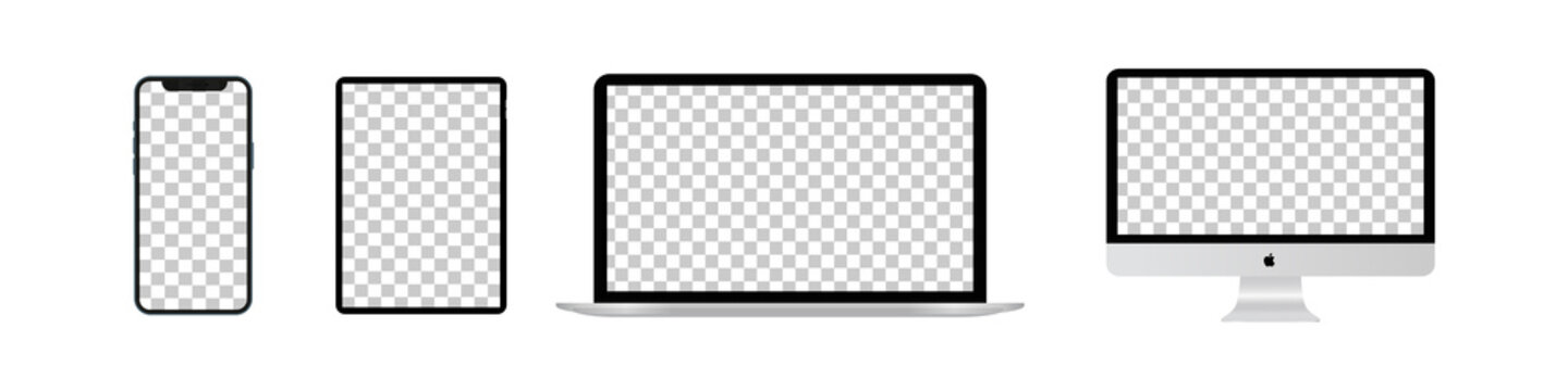 Set mockup computer, laptop, tablet, smartphone. Realistic isolated vector templates Apple devices on white background.