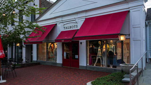 Talbots store entrance view from Main Street in down town area