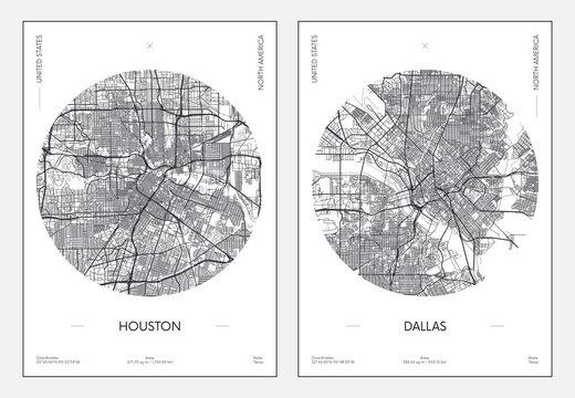 Travel poster, urban street plan city map Houston and Dallas, vector illustration