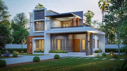 Fototapeta 3d illustration of a newly built luxury home obraz