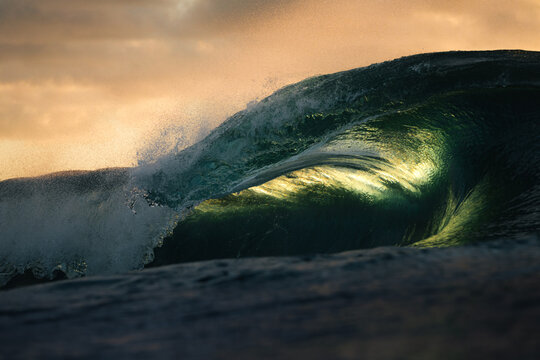 Close-up of a giant wave in the sea