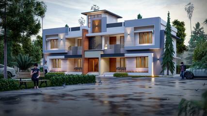 Obraz 3d illustration of a newly built luxury home - fototapety do salonu