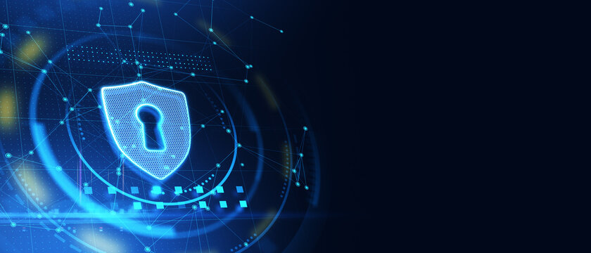 Glowing antivirus shield icon on blue web page background with mock up layout. Safety and protection concept. 3D Rendering.