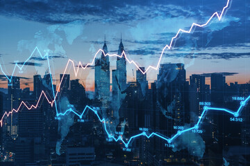 Obraz Creative night city background with glowing forex graph and skyline. Market growth and stock concept. Double exposure. - fototapety do salonu