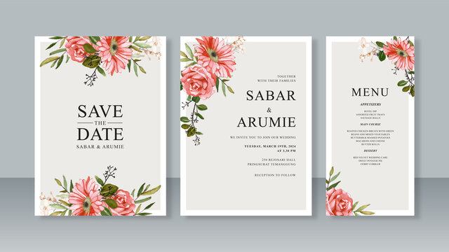 Set of wedding invitation card templates with watercolor floral painting