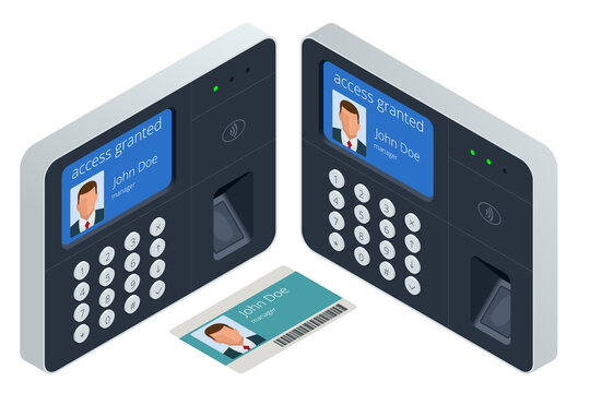 Finger print scan for enter security system, Biometric access control. Digital touch scan identification or electronic sensor authentication.