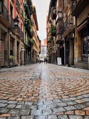 old narrow street in Bilbao