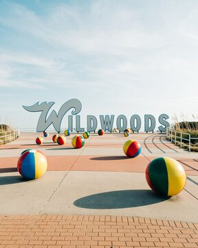 Wildwoods sign, at the beach in Wildwood, New Jersey