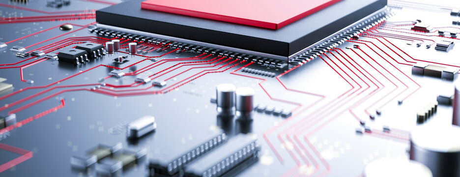 Modern circuit board with red conceptual information running from the processor with a virus 3d render