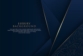 Fototapeta Abstract dark blue triangles shape pattern background with dot element and golden line. Modern simple polygon design. Luxury style graphic element. Space for your text. Vector illustration obraz