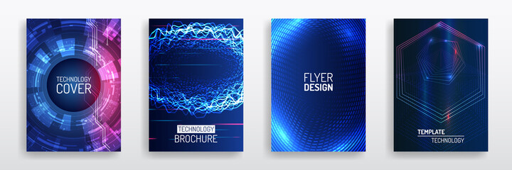 Fototapeta Blue layout futuristic brochures, flyers, placards. Contemporary science and digital technology concept. Vector template for brochure or cover with hi-tech elements background. obraz