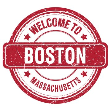 WELCOME TO BOSTON - MASSACHUSETTS, words written on red stamp